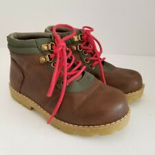 Crazy 8 Ankle Boot Boys 11 Brown Green Trim Red Laces Padded Collar MSRP $35