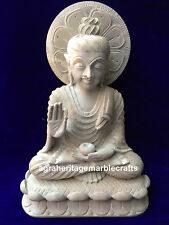 """12"""" Natural Soap Stone Marble Buddha Carved Handmade Collectible Decor Worship"""
