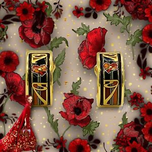 FREY WILLE HOMMAGE À MUCHA LIBUSSA POPPY MINI CREOLES POST EARRINGS