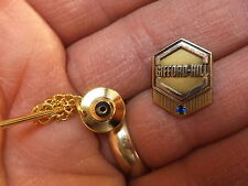"#2 of 2, VTG GOLD FILLED LAPEL PIN TIE TACK ""GIFFORD HILL"" SERVICE AWARD, SPINEL"