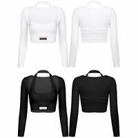 Femme Deux Pièce Tenue T-shirt Haut à Manches longues avec Gilet à Col Licou
