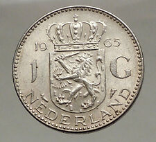 1965 Netherlands Kingdom Queen JULIANA 1 Gulden Authentic Silver Coin i57063