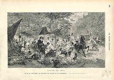 MARCHE AUX FLEURS Madeleine FLEURISTE FRORIST PARIS FRANCE GRAVURE 1874