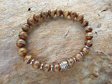 Brown Agate Stone Gemstone Stainless Steel Men's Beaded Stretch Bracelet