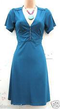 SIZE 16 VINTAGE 40s WW2 STYLE V NECK TEAL BLUE TEA DRESS GOODWOOD # US 12 EU 44