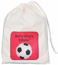 Personalised Red Football- Asthma Inhaler & Spacer bag 25x35cm drawstring EMPTY
