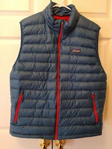 Men Patagonia Packable Puffer Blue Down Sweater Vest Full Zip Jacket Size XL