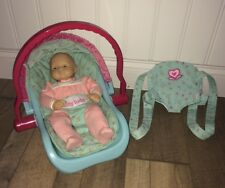 American Girl Bitty Baby LOT---Blonde Blue Eye Doll, Teal Car Seat & Carrier