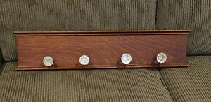 Oak Wall Mounted / Hanging Coat Rack with Vintage Glass Knobs