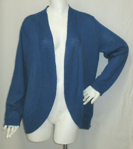 Coldwater Creel XL Cardigan Sweater Teal Blue Open Front Ribbed Trim Lighter