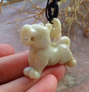 Certified Green Natural A Jade jadeite pendant Tiger Necklace W Ring 虎虎生威 639377