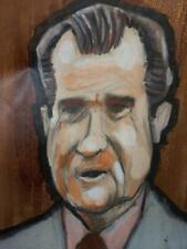 Old Vintage Original Portrait Painting US President Richard Nixon American Art