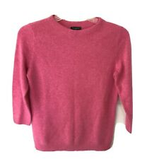 Talbots Sweater Womens Petite PP 100% Cashmere 3/4 Sleeve Crew SOLID PINK SOFT