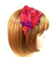 Curly Feather Headband Fascinator Red Purple Flower Rhinestone Hat Society Lady