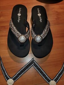LINDSAY PHILLIPS TAYLOR SWITCHFLOPS Platform Wedge Sandals Xtra strap NEARLY NEW