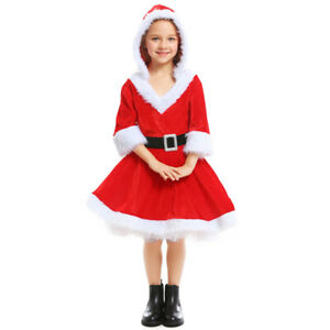 Child Santa Girl Costume Father Christmas Mrs Claus Kids Xmas Fancy Dress Outfit
