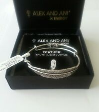 Alex and Ani QUILL FEATHER Wrap NWT Bangle  Bracelet Vintage 66 R Silver RARE