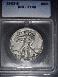 1933-S Walking Liberty Half Dollar, ICG  EF40, Tough Date, issue Free