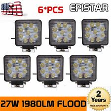 6pcs 27W 12V 24V LED Work Light Flood Beam Tractor Truck SUV ATV Off Road Square