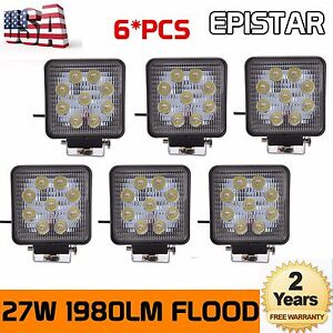 6PCS 4Inch 27W Square Spot Beam Led Work Light Driving Fog Front Bumper PK 48W