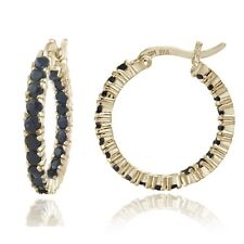 Gold Tone over 925 Silver Inside Out Genuine Sapphire Hoop Earrings