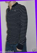 Abercrombie & Fitch Men's Striped BLACK & GRAY Henley Shirt XTRA XTRA LARGE XXL