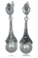 """Shell Pearl Dangle Long Earrings 1.8"""" Marcasite 925 Sterling Silver White Round"""