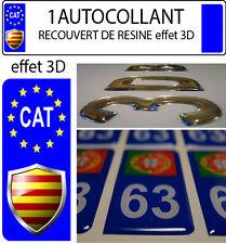 1 STICKER Autocollant CATALAN Foot plaque immatriculation auto 3D EN RESINE