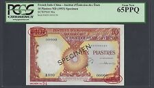 French Indo-China-Cambodia 10 Piastres ND(1953) P96s Specimen TDLR Uncirculated