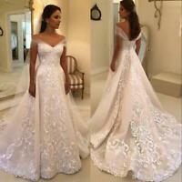 Elegant Wedding Dresses Off Shoulder Applique Backless Bridal Gowns Custom Made