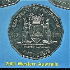 **2001 Western Australia 50 cent UNCIRC. Centenary of Federation coin from set!