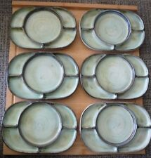 """Hand Crafted Set of Six Sectional Ceramano Steinzeug Conzeption 9 1/2"""" Plates"""
