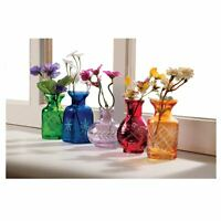 "Art & Artifact 5 Pc Glass Vase Set -Fun Jewel Tone Glass Vases, 2 3/4""-3 3/4""H"