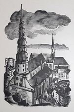 ST PETER'S, RIGA - RARE WOODBLOCK PRINT By A JUNKERS, LATVIA 1942 : LIMITED EDN.