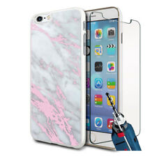Grey Pink Marble Design Hard Case Cover & Glass For Various Mobiles