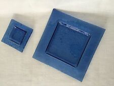 Dinnerware Bubble Glass Square Plates Dishes Salad Sushi Dinner Snack Blue 16 Pc