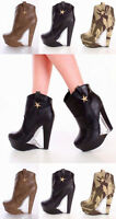 Lot Clear Cut Out Canvas Ankle Booties Boots Shoes Platform Heels Wedges