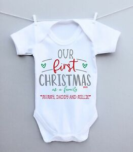 Personalised baby bodysuit vest babygrow! Our first Christmas as a family 2020