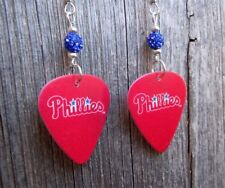 MLB Philadelphia Phillies Guitar Pick Earrings with Blue Pave Beads