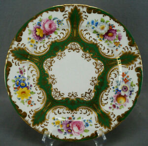 Wedgwood Hand Painted Floral Green & Gold Beaded 10 1/4 Inch Plate C. 1900 C