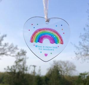 When It Rains Look Rainbows Hanging Acrylic Heart Sign Window Suncatcher Gift