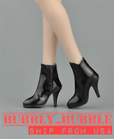 "1/6 Female Leather Ankle Boots A For 12"" PHICEN Hot Toys Figure SHIP FROM USA"