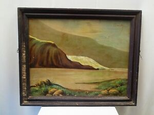 Vintage Landscape Painting Mountains Lakeside Scenery Painting Artwork Frame