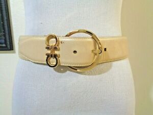 SALVATORE FERRAGAMO BEIGE LEATHER GOLD BUCKLE/LOGO WIDE BELT SZ S