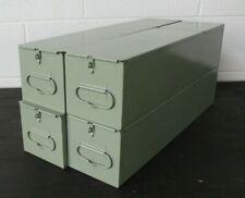 4 SAFE DEPOSIT BOXES METAL DRAWER SAFETY BANK TRAY CASE VINTAGE GREEN LARGE