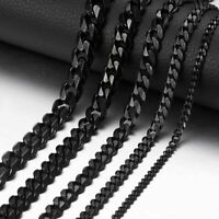 """Stainless Steel 3-11mm 18-36"""" Black Curb Cuban Link Mens Chain Necklace Bracelet"""