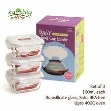 Baby Food Containers Lock & Lock Glass No Plastic Oven Safe BPA free 3pc160mL