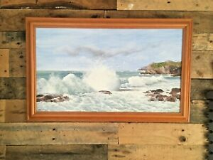 HUGE ORIGINAL MARGARET HALL FRAMED OIL PAINTING PORTH DAFARCH ANGLESEY HOLYHEAD