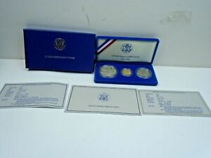 1986 Statue Of Liberty 3 Coin Set: $5 Gold West Point,$1 Silver, 50c Proof & COA