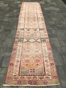 "Turkish Wool Runner, Vintage Hand Knotted Soft Pile 12'3""x 2'10"", FREE SHIPPING!"